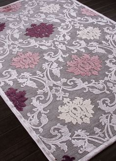 Jaipur Rugs RUG101639 Machine Made Floral Pattern Art Silk/ Chenille Gray/Purple Area Rug ( 7.6x9.6 )