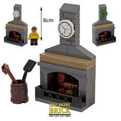 LEGO Fireplace Stone Fire inc Chimney, Coal bucket, Clock & Xmas Wreath - NEW - Trend Photography Lego 2019 Lego Minecraft, Minifigura Lego, Lego Disney, Lego Design, Lego Poster, Pokemon Lego, Lego Gingerbread House, Casa Lego, Modele Lego