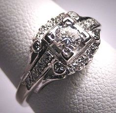 Antique Diamond Wedding Ring Vintage Art Deco Edwardian. $3,285.00, via Etsy.