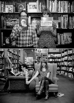 Book lookers at the Tattered Cover in Denver engagement photo session