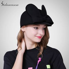 Female hat England wool felt hat rabbit ears cap bowknot Ivy hats cute knight cap with keep warm Like and share if you think it`s fantastic! #shop #beauty #Woman's fashion #Products #Hat