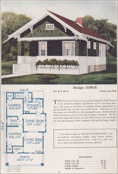 1925 Classic Craftsman-style Bungalow - Small House Plan - C. Craftsman Style Bungalow, Bungalow Floor Plans, Small Bungalow, Bungalow Homes, Craftsman Bungalows, Craftsman House Plans, Cottage Homes, House Floor Plans, Craftsman Homes