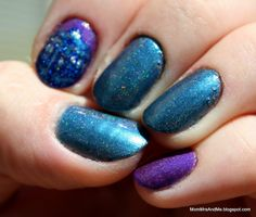 "MomMrsAndMe swatch and review of Above The Curve Nail Polish colors ""Tardis"" and ""Lemming Have It"""