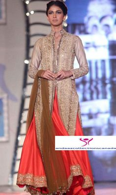 Fabulous Manish Malhotra Long Jacket Anarkali Lehenga buy at andaazcollectionscanada