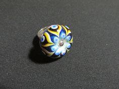 Gümüş yüzük - Silver ring;         Taşı cam boncuk tekniği ile Ebru Öztürk İLERİ üretimi - Stone is from Ebru Öztürk İLERİ with glass beads technique.