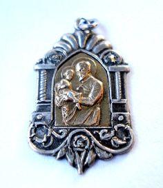 Antigua Medalla Religiosa Católica Amuleto Broche por shopvintage1