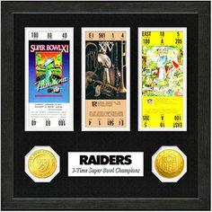 Oakland Raiders Super Bowl Ticket Collection Wall Frame