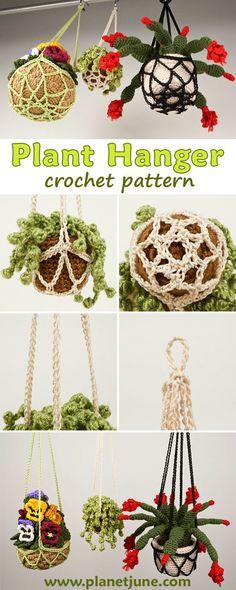 * Crocheted Macrame Plant Hangers