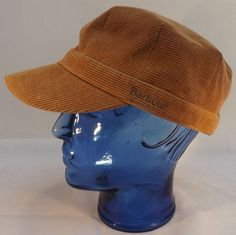 Vintage Barbour Unisex Corduroy Baker Boy Hat, Sand Coloured size Large