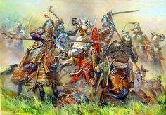 Melee combat between Russian and Mongolian heavy cavalry- by Telenik