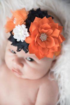 orange flower headband orange headband navy by LaBellaRoseBoutique