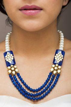 Bead Necklace With precious pearl gemstone India Jewelry, Bead Jewellery, Hair Jewelry, Pearl Jewelry, Antique Jewelry, Beaded Jewelry, Jewelry Necklaces, Beaded Necklace, Jewelry Patterns