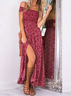 Beautiful Polka Dot Off Shoulder Side Split Maxi Dress