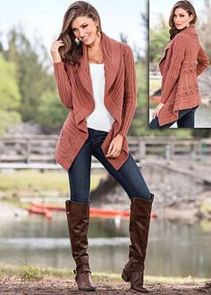 Cable knit rose cardigan by VENUS available in sizes XS - XL