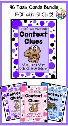 This Task Card bundle has 96 task cards (three sets) which will provide your graders with lots of great context clues practice. Perfect for centers, scoot, one on one, fast finishers and more. Reading Task Cards, Reading Groups, Reading Strategies, Reading Skills, Teaching Reading, 6th Grade Reading, 6th Grade Ela, Sixth Grade, Student Teaching