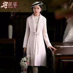 筱姿花一样绽放 2016秋冬新款女装蝴蝶结毛呢外套修身中长款大衣