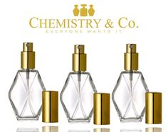 Set of 3 2 oz. Glass Dimaond Shape Perfume Bottle di ChemistryCo
