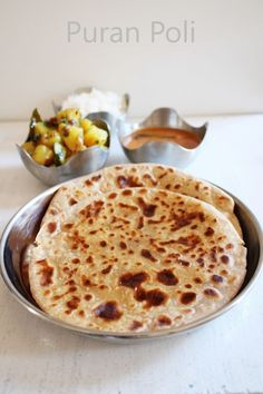 Puran poli recipe with step by photos for ganesh chaturthi. Maharashtrian and Gujarati style sweet bread with filling of lentil-jaggery.