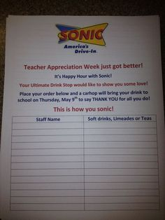 Sonic provided free drinks for every staff member and this is the form I made up....you can print this form with date at easypeasypleasy.com