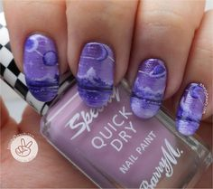 Ithinity Beauty - Nail Art Blog: Purple Monochrome Freehand Mountains & Planets