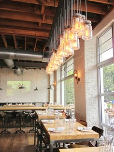Yardbird in Miami, beautiful setting with mason jar lights!