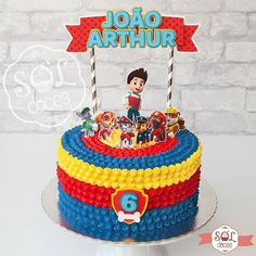 Photo shared by Confeitaria Sol Doces on March 2018 tagging A imagem pode conter: 1 pessoa Cowboy Birthday Cakes, Twin Birthday Cakes, Paw Patrol Birthday Cake, Paw Patrol Party, 2nd Birthday, Baby Boy Birthday, Torta Paw Patrol, Superman Cakes, Paw Patrol Decorations