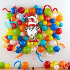 The Dr. Seuss Balloon Bouquet includes an assortment of foil balloons featuring Dr. Decorate your little one's birthday party with colorful Dr. Dr Seuss Party Ideas, Dr Seuss Birthday Party, Birthday Balloons, Dr Seuss Baby Shower Ideas, Baby Boy 1st Birthday, 1st Boy Birthday, Boy Birthday Parties, Birthday Ideas, Gold Birthday
