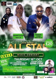 His Royal Sexcellency, Wande Coal, set to perform in London, This October.  Click for more details: http://supastarztv.com/allstar-music-concert-thursday-16th-october-2014/