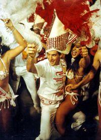 """Em 1992 - """"Senna e uma passista da Estácio"""" Desfile das Campeãs, Sambódromo, RJ. Estácio de Sá campeã com o samba enredo """"Paulicéia Desvairada"""""""