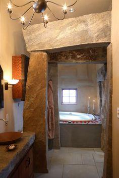 Unique, Architecturally Designed Cottages at Winvian - A Luxury Litchfield Hills, CT Resort Getaway.  master bath 2