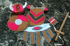 Viking Costume Gift Set  PINK and BROWN   Kid por TheTreeHouseKid