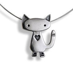 "Alley Cat Sterling Silver Charm Necklace. This funky little feline flaunts a playful, graphic style you'll fall in love with! Created in solid .925 sterling silver, the Alley Cat Charm is set upon a flexible 16"" nylon-coated sterling-plated steel cord with sterling silver lobster-claw clasp. Handcrafted in California."