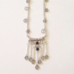 Boho Coin Long Necklace Silver