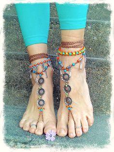 boho hippie toe thongs | ... Boho Sandals toe anklet sole less shoes foot accessories Hippie flower