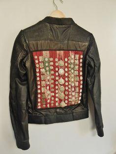 Leather biker jacket with Afghan vintage door TheBohemianLifestyle