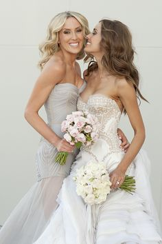 Soft palette bridemaid dresses - bride Rebecca Judd and Her Maid of Honour both in J'aton Couture