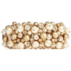 Valentino Pearl and strass bracelet (£810) ❤ liked on Polyvore featuring jewelry, bracelets, accessories, pearls, joias, metallic, valentino jewelry, pearl bangle, pearl jewelry and metallic jewelry