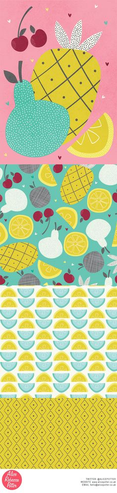 Tropical Fruit collection. Illustration and surface pattern design by Alice Potter 2016 http://alicepotter.co.uk/ Food art, food illustration, pineapple illustration, tropical fruits, pattern design, surface design, art licensing