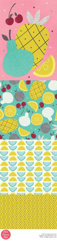 Tropical Fruit collection. Illustration and surface pattern design by Alice Potter 2016 http://alicepotter.co.uk/ Food art, food illustration, pineapple illustration, tropical fruits, pattern design, surface design, art licensing