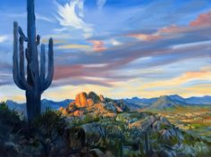"""View Of Scottsdale Arizona From Pinnacle Peak"" by Warren Keating, Los Angeles // Great Giclee of Western Art from the original Warren Keating painting, ""View Of Scottsdale Arizona, From Pinnacle Peak."" This artwork depicts the Saguaro Cactus, Pinnacle Peak and the mountains of the Arizona Desert in the background. // Imagekind.com -- Buy stunning, museum-quality fine art prints, framed prints, and canvas prints directly from independent working artists and photographers."