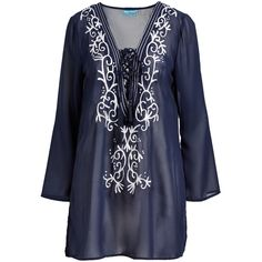 Blue Island Navy Embroidered Lace-Up Long-Sleeve Cover-Up ($20) ❤ liked on Polyvore featuring swimwear, cover-ups, lace cover up, navy blue swimwear, swim cover up, beach cover ups and long beach cover up