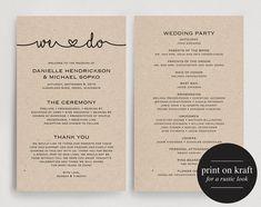 Wedding Programs Instant Download, Printable Wedding Program, Wedding Printable…