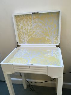 Inside of the cutlery storage table, using an off cut of wallpaper Cutlery Storage, Table Storage, Of Wallpaper, Accent Chairs, Furniture, Home Decor, Flatware Storage, Upholstered Chairs, Decoration Home