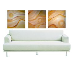 Abstract Triptych- Natural Yellow Sunshine Painting