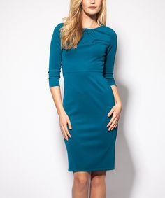 Love this emploi New York Peacock Pleat-Neck Long Sheath Dress by emploi New York on #zulily! #zulilyfinds
