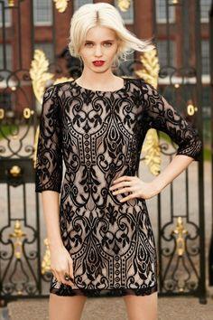 Black & nude cocktail dress