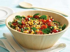 Wheat Berry, Grilled Corn and Spinach Salad-use either coconut or olive oil in place of vegetable oil.