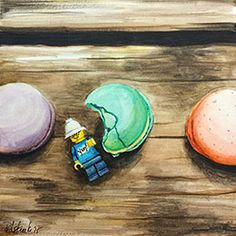 Macaron Heaven II Watercolor on Aquabord by Jennifer Redstreake