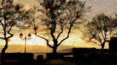 Monti+Simbruini-paesaggio-tramonto Digital, Painting, Art, Art Background, Painting Art, Kunst, Paintings, Performing Arts, Painted Canvas