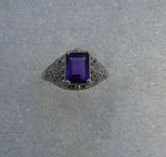 February Birthstone 8x6mm Emerald Cut genuine Purple Amethyst Gemstone Ring…